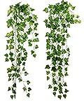 ROZZERMAN 観葉植物 人工 アイビー 緑 2本 セット インテリア 壁掛け 植物 造花 大型 室内 g37 (A-グリーン)