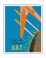 ダグラスDC-8ジェットライナー - UAT (航空海上連合) - ビンテージな航空会社のポスター によって作成された バルリエ c.1960s - アートポスター - 41cm x 51cm