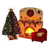 サンリオ クリスマスカード 洋風 ライト&メロディ ポップアップ 暖炉 S7311