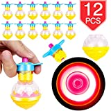 PROLOSO 12 Pcs Spinning Tops Light Up LED Spin Toys Flashing Gyro Glow in The Dark Party Favors
