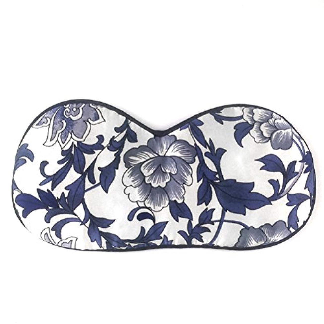 そこ虚偽感覚ULTNICE シルク睡眠の目のマスク目隠しのアイシャドウ女性のための睡眠の昼寝の瞑想(青と白の磁器)