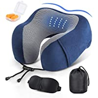 Comway Travel Pillow 100% Pure Memory Foam Neck Pillow for Airplane Travel, Breathable, Comfortable, Adjustable Neck Support Pillows with Washable Cover, Sleep Mask, Earplugs & Portable Drawstring Bag