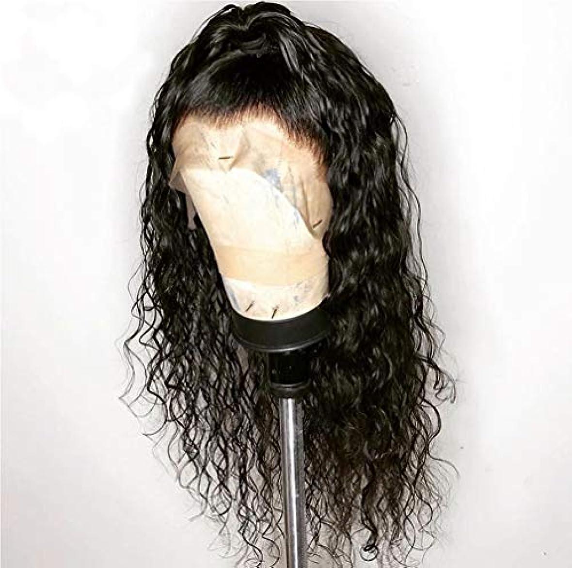 地上で気取らない恥ずかしい女性150%密度フロントレースかつらカーリーウェーブブラジルバージンヘアレースフロントかつら摘み取られたヘアラインレミーの髪グルーレス