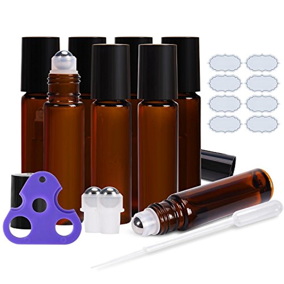不適当消化器カフェULG ステンレス製 ローラーボール付きボトルガラス空き瓶8枚2個 余分なボールを8枚防水ラベルエッセンシャルオイル 用 1つ オープナーと3ミリリットル ドロッパー ロール 10ミリリットル アンバー