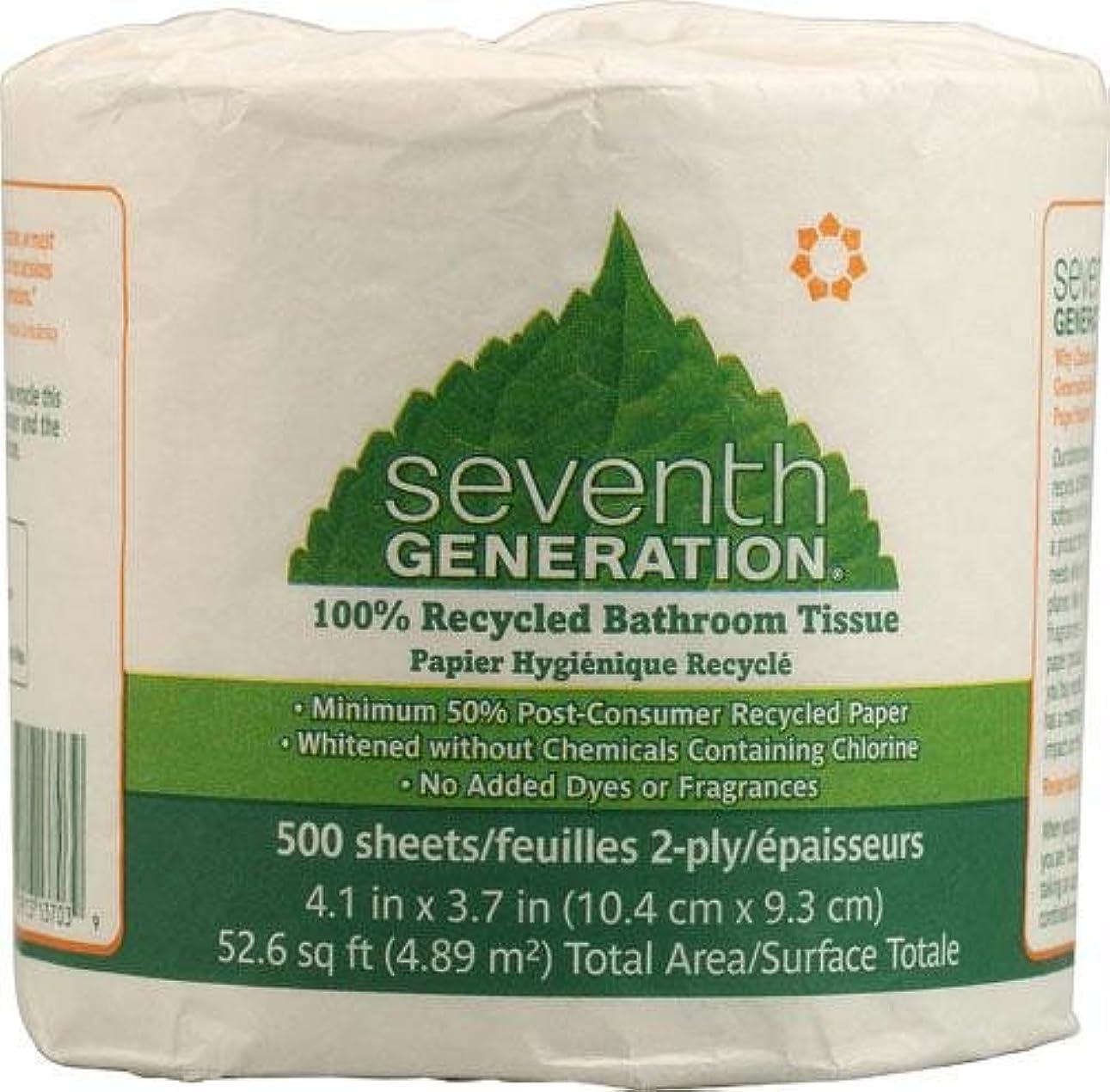 壁ほめる軍団Seventh Generation 13703 – 100リサイクル浴室ティッシュ、二層、ホワイト、500枚/ロール、48ロール/カートン
