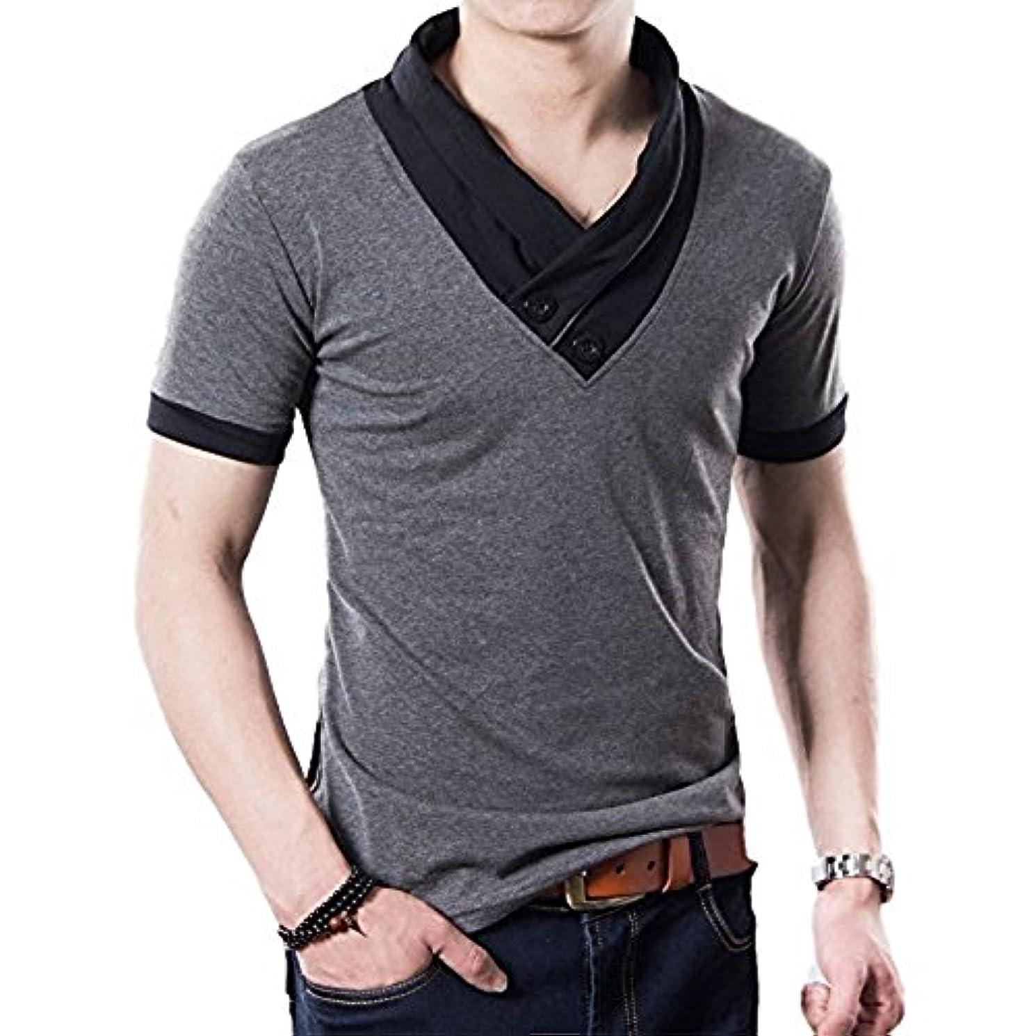 かすれた音楽懇願する[フォーリーフ] お洒落 スリム ダークカラー 半袖 メンズ シャツ Vネック 無地 デザイン襟 ブラック グレー 2色展開 M L XL