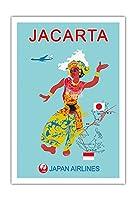 ジャカルタ - 日本航空(JAL) - ビンテージな航空会社のポスター c.1960s - アートポスター - 76cm x 112cm