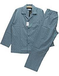 Lサイズ[春夏]紳士長袖?長ズボンパジャマ(ピエールカルダン 日本製 メンズ) 綿100%ドビー織 テーラー襟/前あき全開