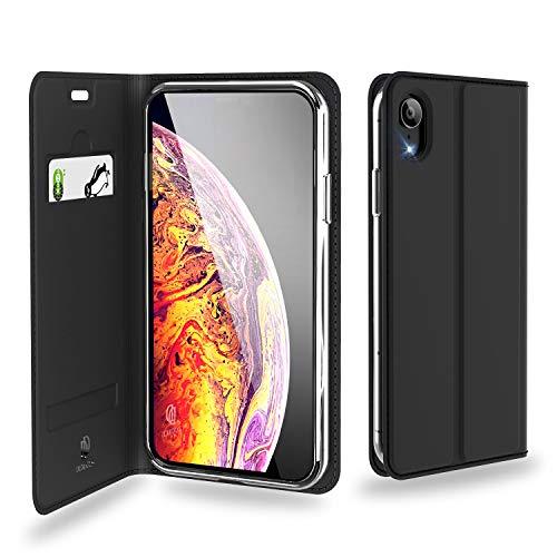 iPhone XR 手帳型ケース スタンド機能付き ワイヤレス充電対応 PUレザー ブラック