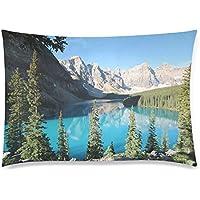 可愛い 子供 モレーン湖とテンピークスの風景 座布団 50cm×72cm
