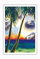 空中に音楽があります - ハワイアンサンセット - オリジナルハワイ水彩画から によって作成された ペギー チュン - アートポスター - 76cm x 112cm