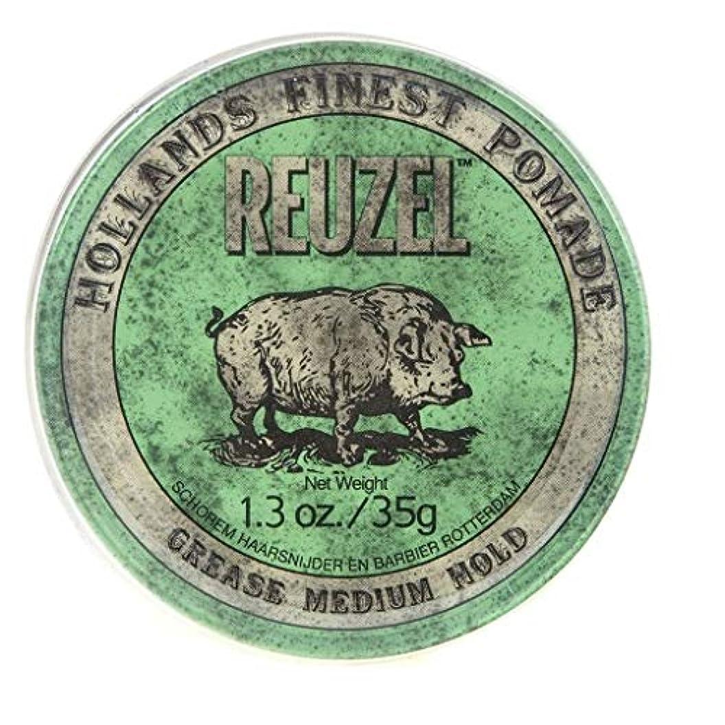 ブルインターネット質素なルーゾー グリーン ミディアムホールド グリース ポマード Reuzel Green Medium Hold Grease Pomade 35 g [並行輸入品]