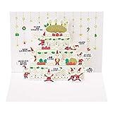 サンリオ クリスマスカード 洋風 二つ折り ポップアップ ケーキ箱の前に金線描き豆サンタ S7151