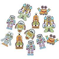 FenBuGu-JP 興味深い 約50個のロボットは、2つの穴を持つ木製のボタンを形作った