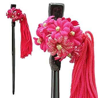 鎌倉工芸 [カマクラクラフト] 忘れな草 の 花 かんざし ( 簪 ) 房 ( タッセル ) つき 髪飾り ワイン | 和装小物 通販