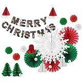 Easy Joy クリスマス飾り付けセット オーナメント クリスマスツリー ペーパーファン サンタ帽子 ジングルベル 雪の結晶 手作り装飾 インテリア 写真背景