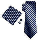 Barry.Wang フォーマル ネクタイ ハンカチ カフスボタン セット シルク ネクタイ ストライプ ブルー