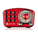 ヴィンテージラジオ レトロ ブルートゥーススピーカー Mifineクラシックスタイル 赤 ポータブルラジオ レトロFMラジオ 強い低音の強化 大音量 ブルートゥース4.2 AUX TFカード MP3プレーヤー