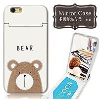 301-sanmaruichi- iPhone8 ケース iPhone7 ケース ミラーケース 鏡付き ミラー付き カード収納 おしゃれ クマ キツネ 動物 イラスト A プリント ICカード iPhone6s 6 ケース