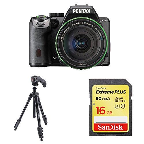 PENTAX デジタル一眼レフ PENTAX K-S2 DA18-135mmWRレンズキット (ブラック) + Manfrotto 三脚 COMPACT Action フォト・ムービーキット アルミ 5段 ブラック 他1点セット