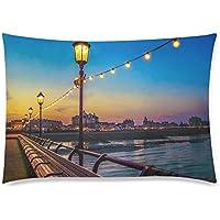 可愛い 子供 街灯と桟橋から見る夕暮れのイギリスの街並み 座布団 50cm×72cm