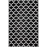 Tangier Black and White Outdoor Rug and Mat | Recycled Plastic | Fab Habitat (180x270 cm)