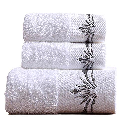 wendana 贅沢タオルセット 3枚 大判バスタオル フェイスタオル ホテル仕様 白 100%綿