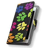 Xperia XZs 602SO ケース カバー 手帳 スマコレ 手帳型 レザー 手帳タイプ 革 スマホケース スマホカバー エクスペリア XZs アニマル 006783 Sony ソニー softbank ソフトバンク 動物 足跡 模様 602so-006783-nb