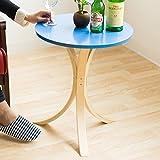 【サイドテーブル 木製】あなたの隣にキュートなテーブル ★ ポルタ ー Porta ★ 北欧スタイル 木製テーブル 丸テーブル 軽量 色:ブルー