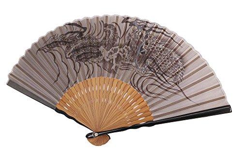 UN JOUR 扇子 男物 紳士 江戸 モダン 和風 シンプル メンズ 絹 シルク プレゼント 高級感 和柄 (龍 唐木)
