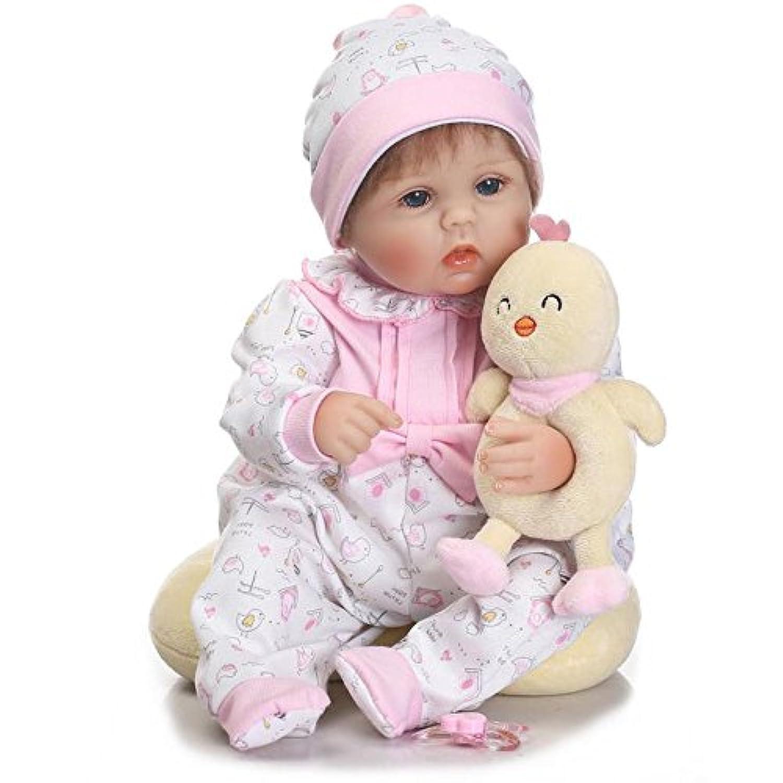 Rebornシリコン女の子ベビー人形Real Lookリアルな18インチ赤ちゃんおもちゃEyes Open with Hair
