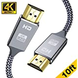 4K HDMI Cable 3M,Snowkids High Speed Ultra HD (18Gbps 4K 2160@60Hz) HDMI 2.0 Code for Fire TV,3D Support,Ethernet Function,Video 4K UHD 2160p,HD 1080p,3D - Xbox Playstation PS3 PS4 PC,1 Pack