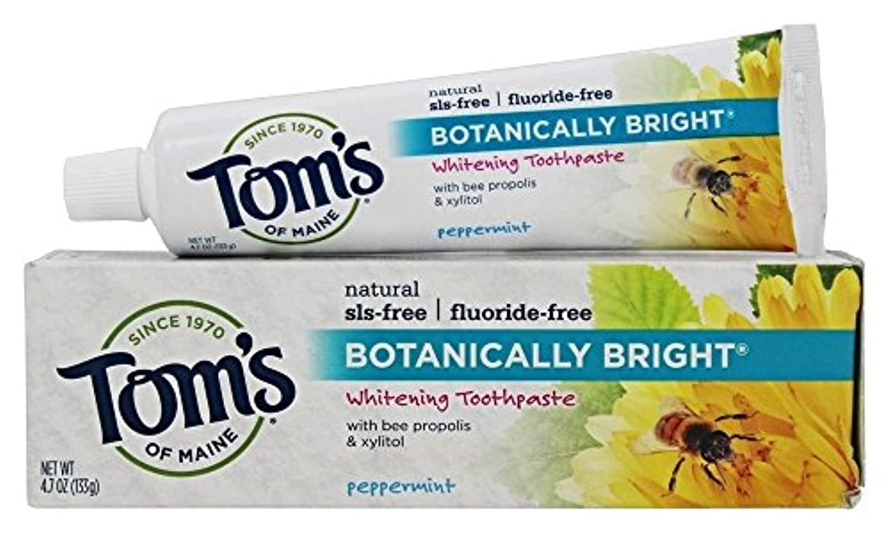 外国人空港オンスBotanically Bright Whitening Toothpaste Peppermint - 4.7 oz - Case of 6 by Tom's of Maine
