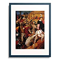 Brueghel-Nachahmer,2.Hlf.16.Jahrh. 「Das Fest des hl.Martin. (Fragment)」 額装アート作品