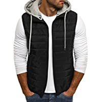 Taoliyuan Mens Puffer Vest Jacket Quilted Removable Hooded Sleeveless Zip Up Warm Winter Outwear Jacket Gilet