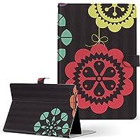 Lenovo TAB4 レノボ タブレット 手帳型 タブレットケース タブレットカバー カバー レザー ケース 手帳タイプ フリップ ダイアリー 二つ折り フラワー 花 フラワー 黒 004980