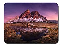 イタリア、ドロミテ、山、湖、草、家 パターンカスタムの マウスパッド 旅行 風景 景色 (26cmx21cm)