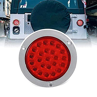 ZHUOTOP 4Inch Round 24LED Trailer Tail Lights Stop Brake Lights Fit for Car Trucks RV Jeep