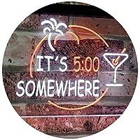 It's 5 pm Somewhere Bar Beer Cocktails Dual Color LED看板 ネオンプレート サイン 標識 白色 + オレンジ色 400 x 300mm st6s43-i2090-wo