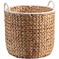 家庭用籐ランドリーバスケットポータブルストロー汚れたハンパー服雑貨保管バスケット、36 * 32 * 38センチメートル