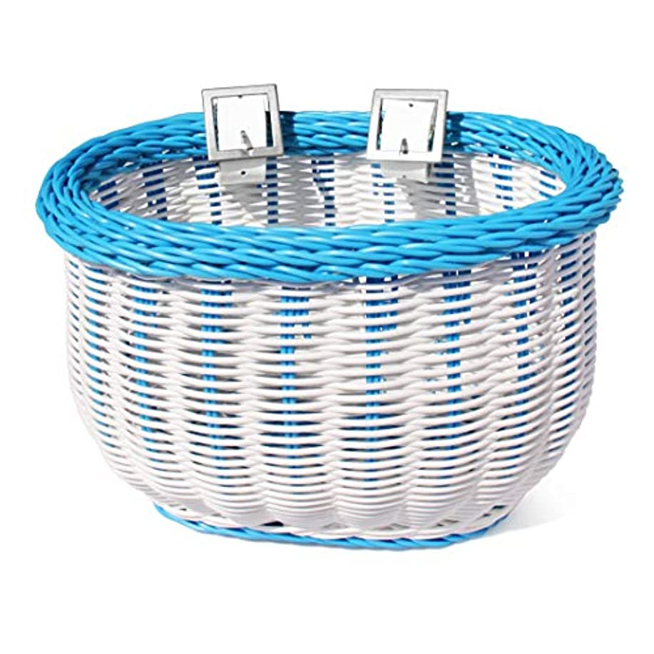 振る舞う九時四十五分扇動するColorbasket 01280 Kid's Front Handlebar Bike Basket, White with Blue Trim by Colorbasket