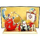 『鯛飾り 宝来猫 屏風付き』手作り ちりめん細工 迎春 正月 飾り 置物 縁起物 和雑貨 なごみ リュウコドウ