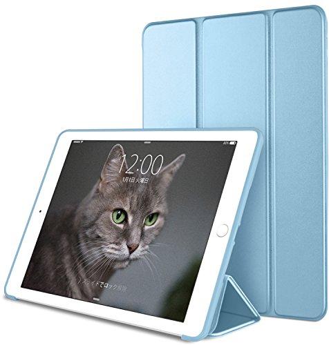 DTTO iPad Mini 1/2/3 ケース 超薄型 超軽量 生涯保証 TPU ソフト PUレザー スマートカバー 三つ折り スタンド スマートキーボード対応 キズ防止 指紋防止 [オート スリープ/スリー プ解除] スカイブルー