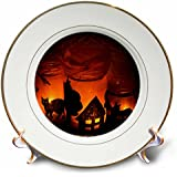 CP 6025 Sandy Mertensハロウィンデザイン – Halloween Cat, House and Bat発光体 – プレート 8 inch Porcelain Plate cp_6025_1