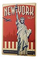 なまけ者雑貨屋 City NY Statue of Liberty ブリキ看板 ガレージ アメリカン ホットロッド メタルプレート レトロ アンティーク 復古調 ブリキ看板 ガレージ アメリカン 復刻版 アンティーク風 雑貨 おしゃれ インテリア