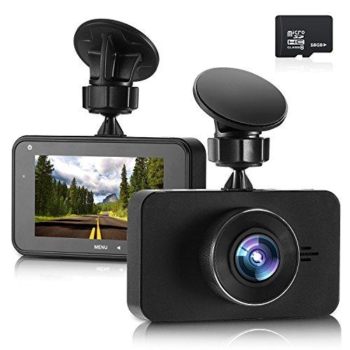 ドライブレコーダー ドラレコ 車載カメラ ビデオカメラ フルHD1296P 3.0インチ 200万画素 SONY323レンズ 170度広角 駐車監視 暗視機能 衝撃録画 動体検知 日本語説明書 microSDHCカード 16GB付属