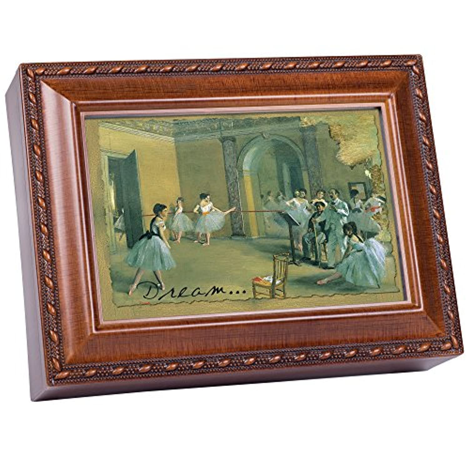Cottage Garden Dream Dancers Woodgrain Music Box / Jewellery Box Plays Wonderful World
