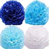 (ジンセルフ) JINSELF いろどる魅了花 大量12枚 和紙 高品質 ペーパーフラワー ポンポン 紙花風船 飾り付け バルーン フラワー 誕生日 結婚式 25cm ブルー