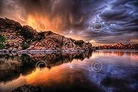 Color Storm Bob Larson写真Landscape Sunset Sunriseポスター(選択サイズ、印刷またはキャンバス) 24x16 Unstretched Canvas BM-L1509-4C