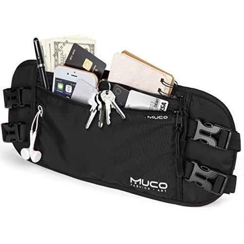 [MUCO] セキュリティポーチ ウエストポーチ RFID スキミング防止 貴重品 旅行便利グッズ 防水 盗難対策 薄型 ブラック